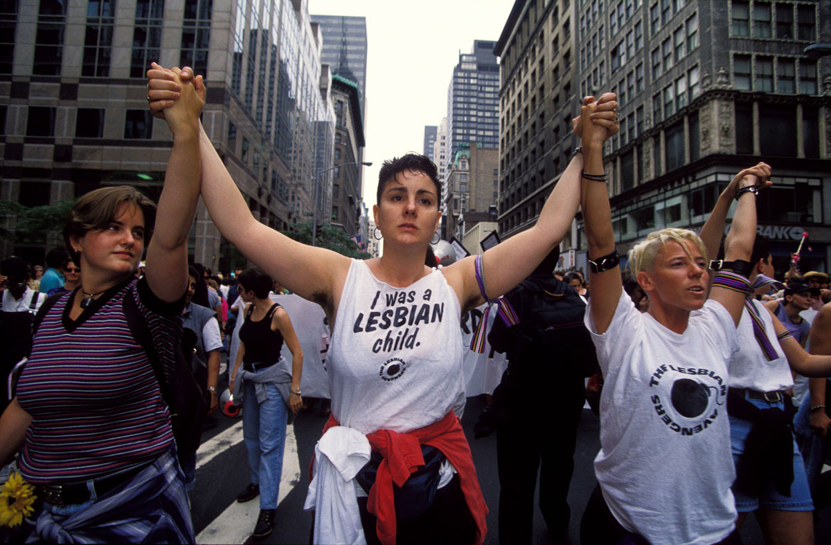 Manhattan, June 28, 1998. Members of the Lesbian Avengers march at the 29th  annual Gay Pride Parade.